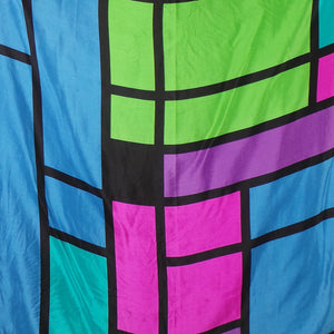 1980s Bright Geometric Print Silk Scarf