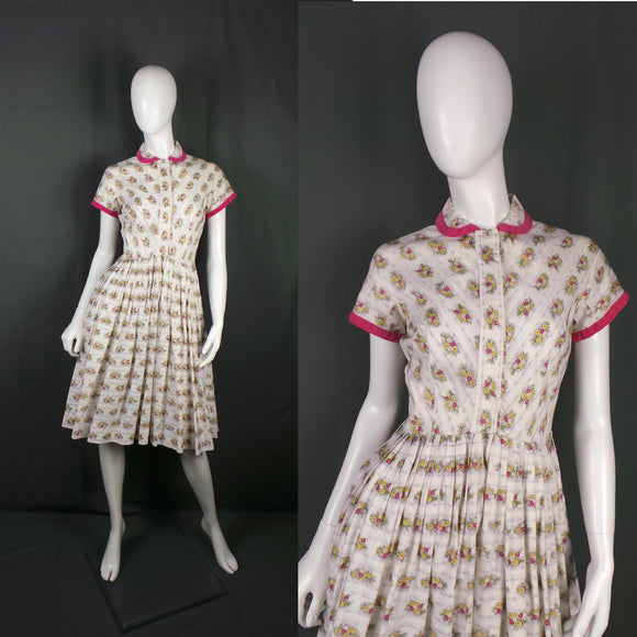1950s White and Bright Pink Floral Stripe Shirtwaister Dress, by London Town, 34in Bust