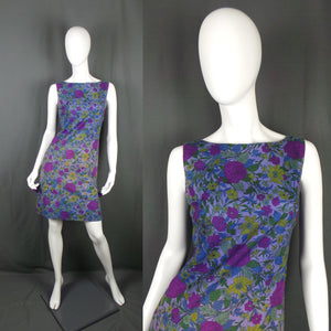 1960s Purple Wild Flower Mini Shift Dress, designed by Pat Albeck, by Sambo