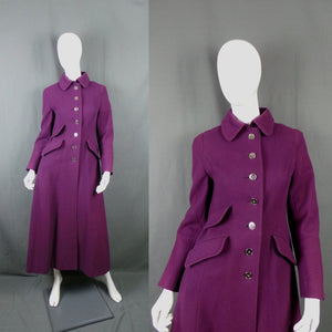 1960s Jewel Purple Wool Maxi Princess Coat, by Elgee, 34in Bust