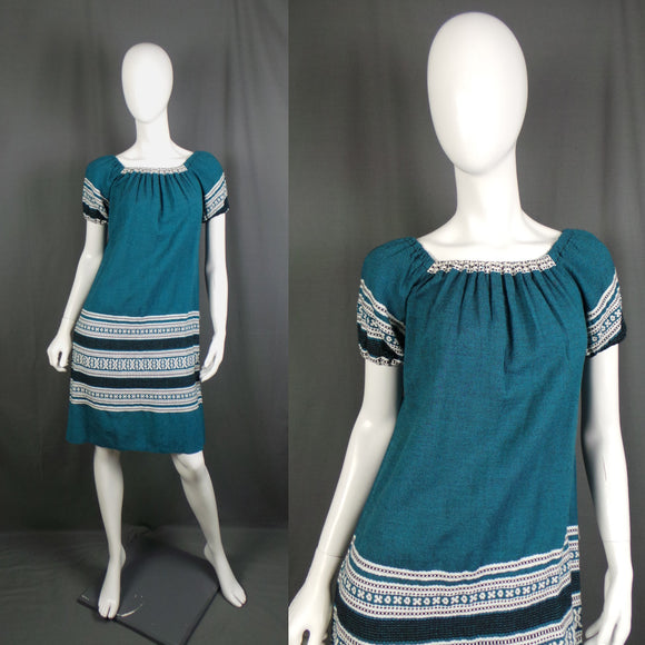 1970s Teal and White Mexican Style Greek Summer Dress, 38in