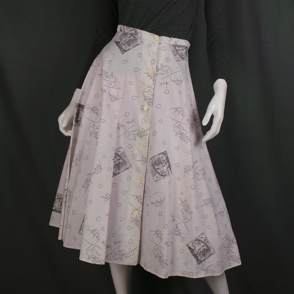 1950s White Rare Tommy Steele Rock and Roll Novelty Print Full Skirt, by Teddy Tinling, 26in Waist