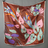 1960s Brown and Pink Psychedelic Leaf Print Scarf