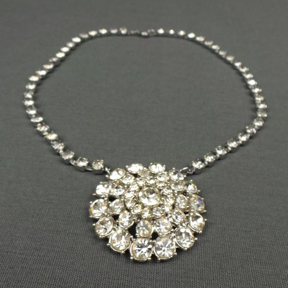 1970s Round Rhinestone Pendant Necklace with Extension Chain