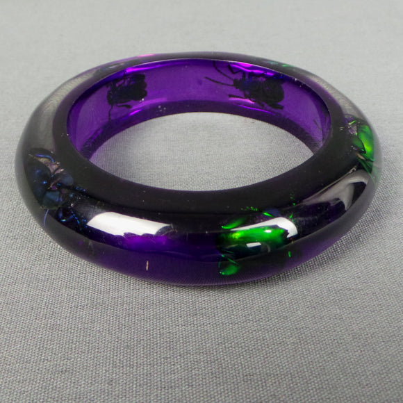 1950s Iridescent Beetle Purple Lucite Bangle