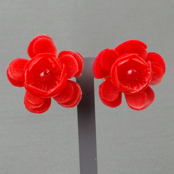 1950s Bright Red Cherry Blossom Clip On Earrings