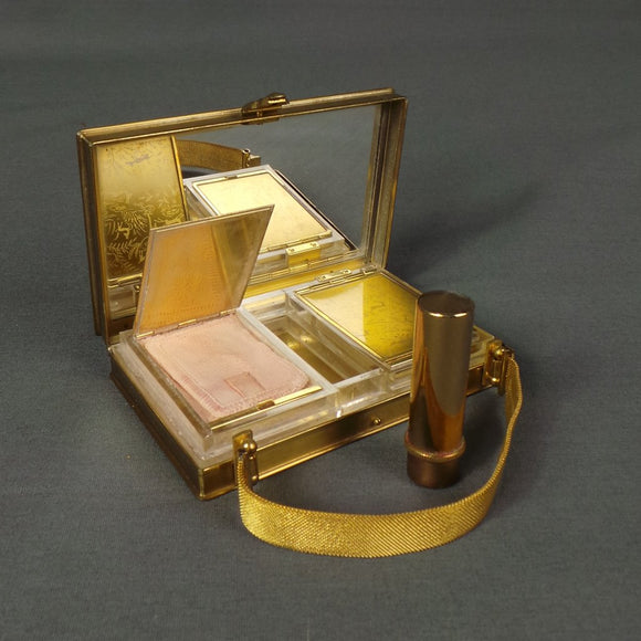 1930s Brass Art Deco Etched Animal Minaudiere Vanity Bag with Goya Lipstick