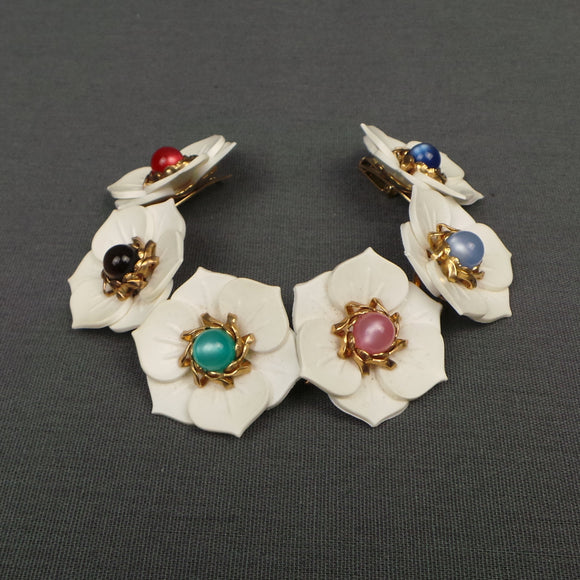 1960s White Flower Multi Colour Bracelet