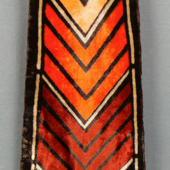 1970s Brown and Orange Chevron Velvet Long Scarf