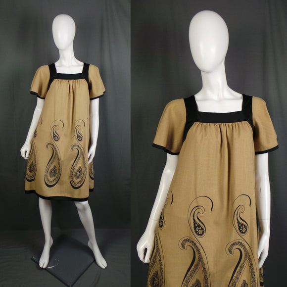 1970s Warm Tan Flutter Sleeve Paisley Smock Dress, by Alfred Shaheen, 40in Bust