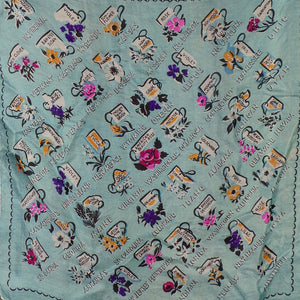 1940s Light Blue Novelty Print State Flowers American Souvenir Scarf