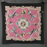 1980s Candy Pink Animal Fairground Carousel Bandanna Scarf