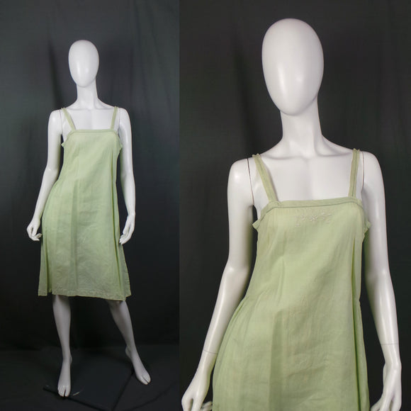 1920s Light Pistachio Green Linen Slip Dress, 36in Bust