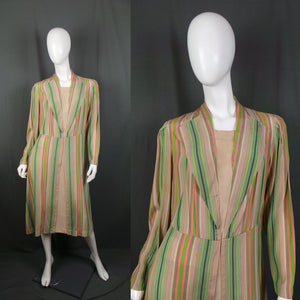 1930s Pink and Green Pastel Striped Deco Dress, 43in Bust