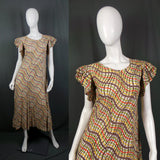 1930s Frill Sleeve Orange, Yellow and Green Feed Sack Loose Dress, 36in Bust