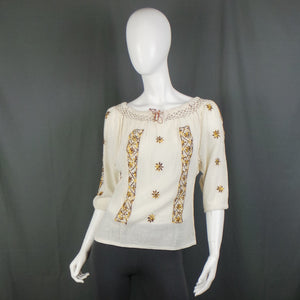 1960s Cream Boho Cheesecloth Top with Golden Star Embroidery, 36in bust