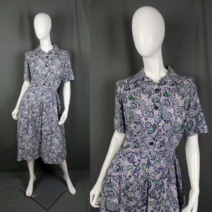 1950s Navy and Green Paisley Print Cotton Shirt Dress, 43in Bust
