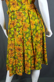 1950s Golden Yellow and Green Belted Shirt Dress, 50in Bust