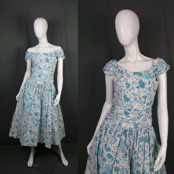 1980s Laura Ashley White, Blue and Lilac Bow and Flower Princess Dress, 35in Bust