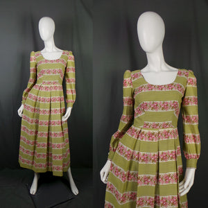 1960s Grass Green and Pink Rose Striped Prairie Balloon Sleeve Midi Dress, 35in Bust