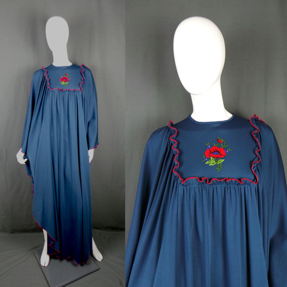 1970s Navy Draped Kaftan with Red Poppy Embroidery, by Ronald Joyce, 42in Bust Max