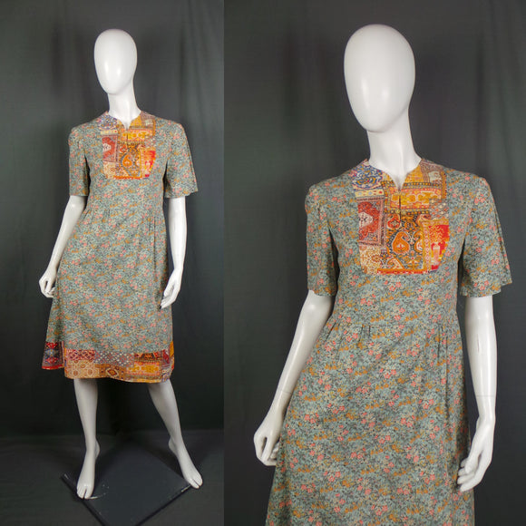 1960s Clashing Ditsy Floral and Indian Print Cotton Day Dress, 40in Bust