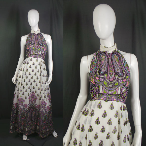 1960s White and Lilac Paisley Halter Neck Maxi Dress, 34in Bust
