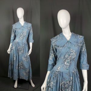 1950s Cornflower Blue Floral Drop Waist Housecoat with Puritan Collar, 44in Bust