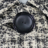 1950s Black and Cream Check Puritan Collar Large Button Coat, 42in Bust