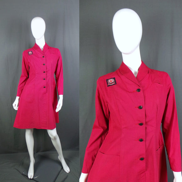 1950s Dusky Red Long Sleeve British Red Cross Nurse Uniform Dress with Voluntary Aid Badge, 40in Bust
