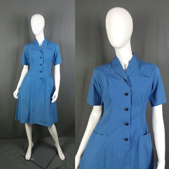1950s Cobalt Blue Short Sleeve British Red Cross Nurse Uniform Dress, 40in Bust