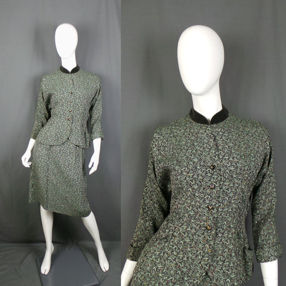 1950s Green Chinese Dragon Two Piece Silk Brocade Suit, by Emmar Mayfair, 26in Waist