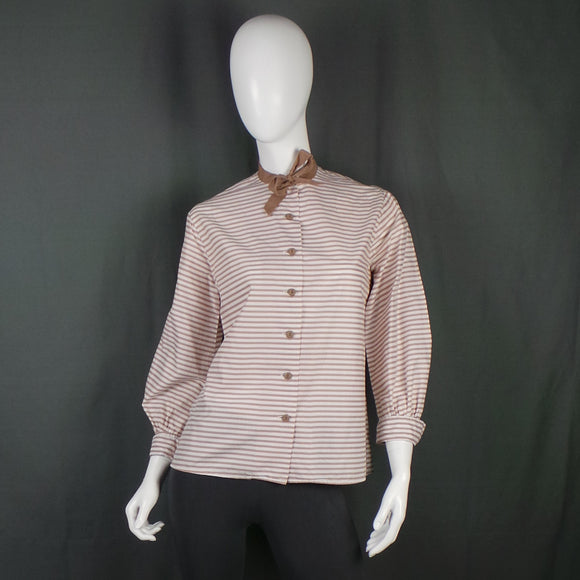 1950s Latte Brown Striped Bow Collar Smock Blouse, by Horrockses, 39in Bust