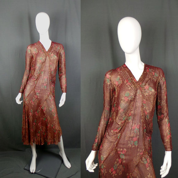 1930s Maroon and Gold Bias Cut Floral Lame Gown with Rhinestone Buttons, 32in Bust
