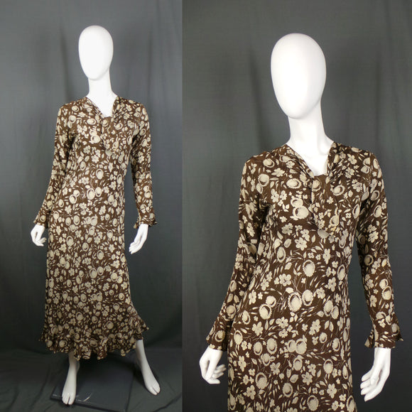 1930s Cacao Brown and Cream Floral Flared Silk Dress, 34in Bust