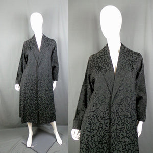 1950s Black Textured Silk Opera Swing Coat, 46in Bust