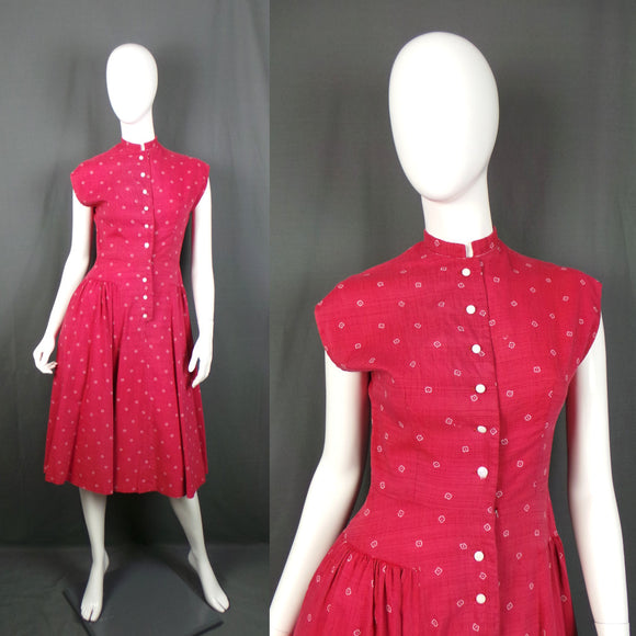 1940s Light Maroon and White Print Pleated Hip Cotton Dress, 36in Bust