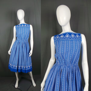 1950s Cobalt Blue Swiss Heart Boat Neck Dress, by Magg, 36in Bust