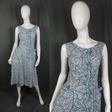 1940s Blue and Grey Scalloped Edge Sleeveless Housecoat Dress, by Joyce Lane, 39in Bust