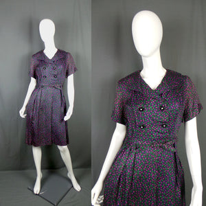 1950s Pink and Green Spot Double Breasted Dress, by ILGWU, 41in Bust
