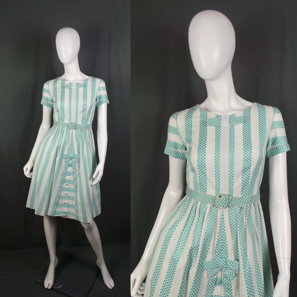 1950s Bow Front Aqua and White Spots and Stripes Flared Skirt Dress, 36in Bust