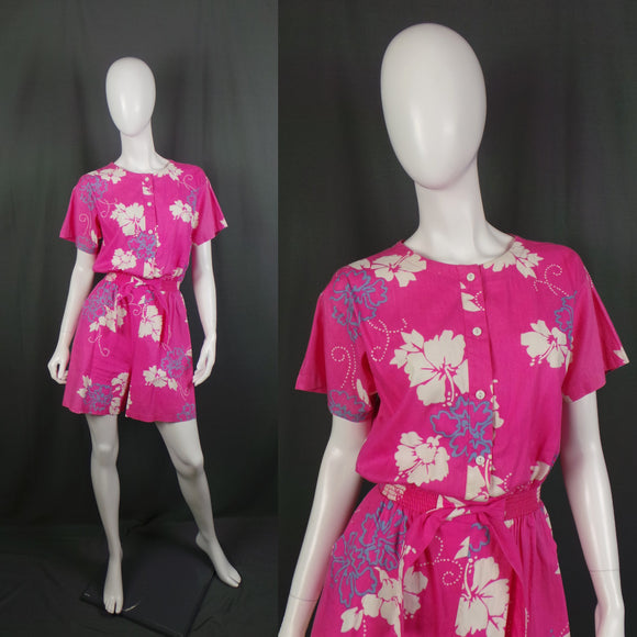 1980s Bright Pink Tropical Playsuit Romper, by Nani Hawaii, 40in Bust