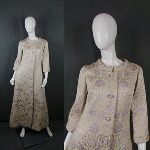 1960s Lime and Lilac Lurex Baroque Print Full Length Housecoat, by Dynasty, 38in Bust