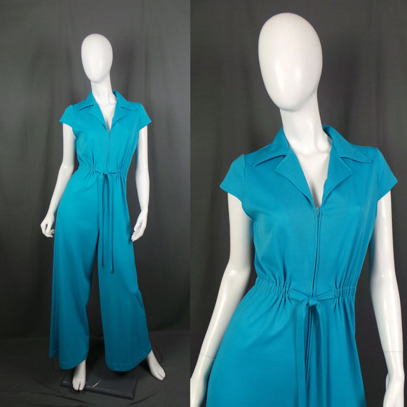 1970s Bright Aqua Flared Jumpsuit with Zip Front, 37in Bust