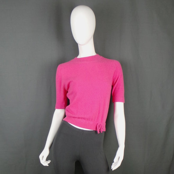 1950s Bubblegum Pink Short Sleeve Cashmere Jumper, 38in Bust max