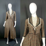Early 1900s Open Fronted Dress with Polka Dot Lace High Neck, Theatre Costume Piece, 36in Bust