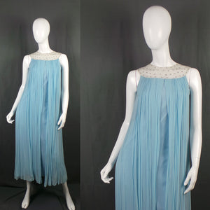 1960s Baby Blue Pleated Caped Dress with Rhinestone Silver Collar, by Henry Harris , 33in Bust