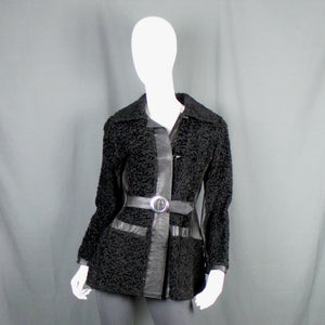1960s Black Leather and Astrakhan Fur Belted Short Jacket, 36in Bust