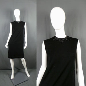 1960s Black Wool Sleeveless Knit Beaded Collar Dress, 37in Bust