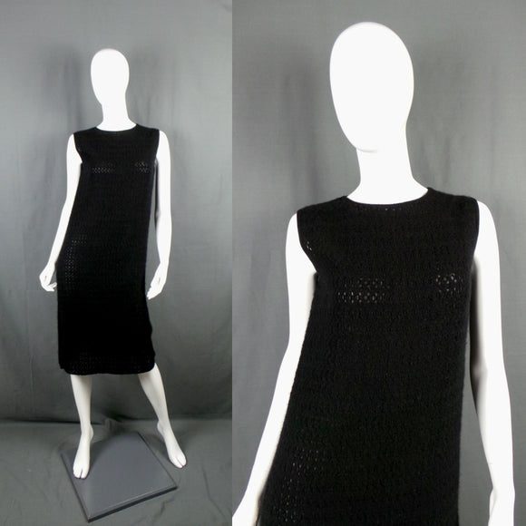 1960s Black Open Knit Cashmere Wool Sleeveless Knit Dress, By Pringle, 36in Bust
